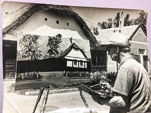 Maghy Zoltán festőművész munkaközben