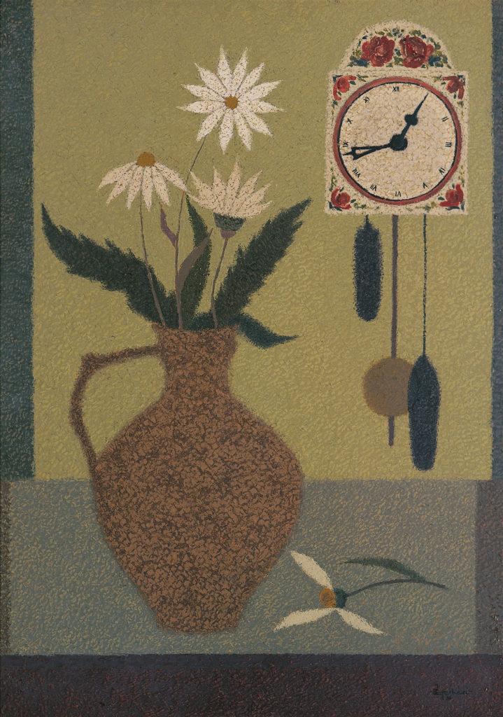 Virágcsendélet órával